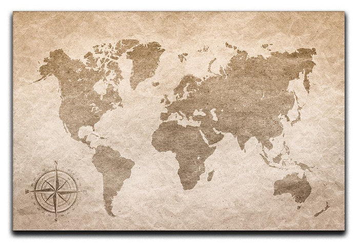 vintage paper with world map Canvas Print or Poster