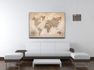 vintage paper with world map Canvas Print or Poster - Canvas Art Rocks - 4