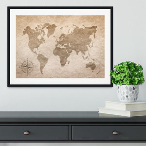 vintage paper with world map Framed Print - Canvas Art Rocks - 1