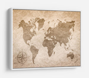 vintage paper with world map HD Metal Print