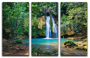 waterfall in deep green forest 3 Split Panel Canvas Print - Canvas Art Rocks - 1