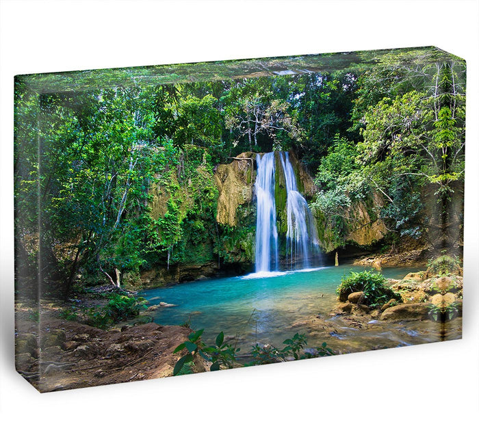 waterfall in deep green forest Acrylic Block