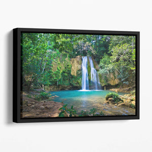 waterfall in deep green forest Floating Framed Canvas