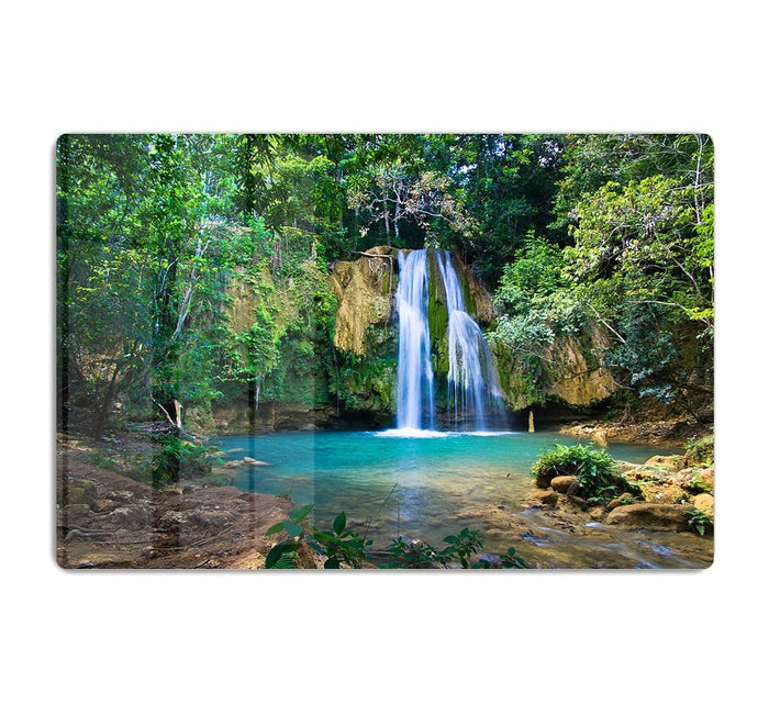 waterfall in deep green forest HD Metal Print