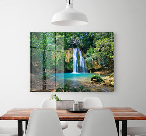 waterfall in deep green forest HD Metal Print - Canvas Art Rocks - 2