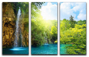 waterfalls in deep forest 3 Split Panel Canvas Print - Canvas Art Rocks - 1