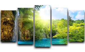 waterfalls in deep forest 5 Split Panel Canvas - Canvas Art Rocks - 1