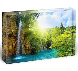 waterfalls in deep forest Acrylic Block - Canvas Art Rocks - 1