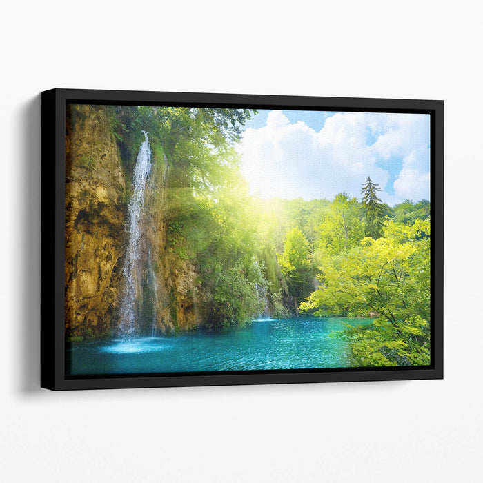 waterfalls in deep forest Floating Framed Canvas