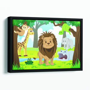wild jungle animals in the animal kingdom Floating Framed Canvas