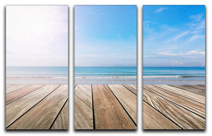 wood terrace on the beach and sun 3 Split Panel Canvas Print - Canvas Art Rocks - 1