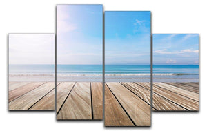 wood terrace on the beach and sun 4 Split Panel Canvas - Canvas Art Rocks - 1