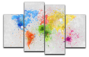 world map painting 4 Split Panel Canvas  - Canvas Art Rocks - 1