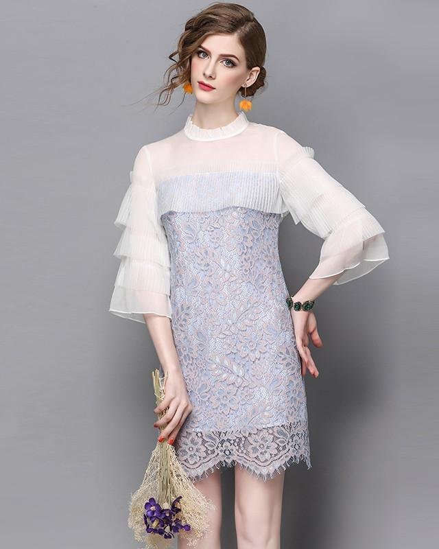 Pale Blue Lace Dress