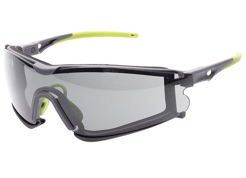 Encon Scudo Safety Glasses Grey Anti-Fog Lens Green Frame Fire Resistant Foam Gasket