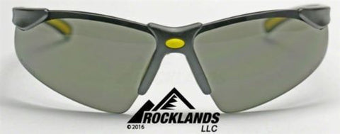 Image of Elvex Elite Safety/Sun Glasses Grey PC Lens/Black Frame/Yellow Tips SG-200G