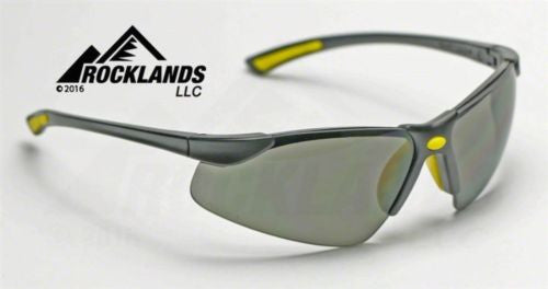 Elvex Elite Safety/Sun Glasses Grey PC Lens/Black Frame/Yellow Tips SG-200G