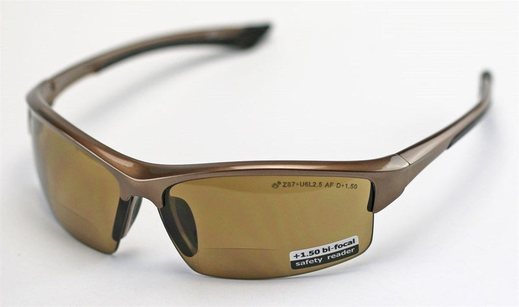 Elvex Sonoma™ RX350™ Bifocal Safety/Reading Glasses Brown 1.0 to 3.0 Mag Z87.1