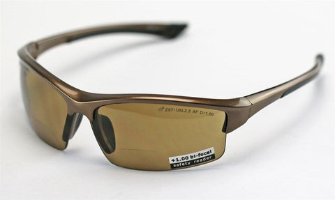 Image of Elvex Sonoma™ RX350™ Bifocal Safety/Reading Glasses Brown 1.0 to 3.0 Mag Z87.1
