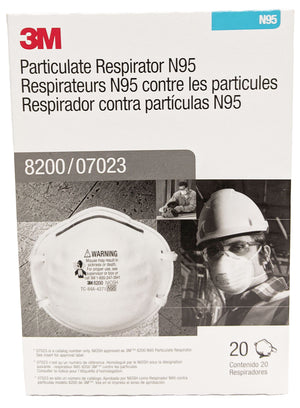 3M N95 Particulate Respirator Mask, Model 8200, 1 box, 20 masks