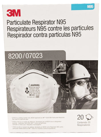 Image of 3M N95 Particulate Respirator Mask, Model 8200, 1 box, 20 masks