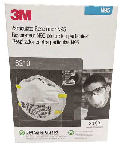 Image of 3M N95 Particulate Respirator Mask, Model 8210, 1 box, 20 masks