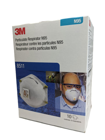 3M N95 Respirator Mask, model 8511, 1 box, 10 masks LIMITED STOCK!