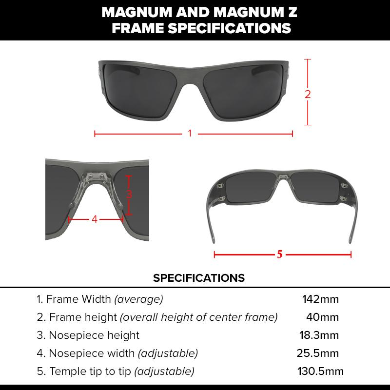 Gatorz Magnum Series Sunglasses Black Frame, Smoked Blue Mirror Lens