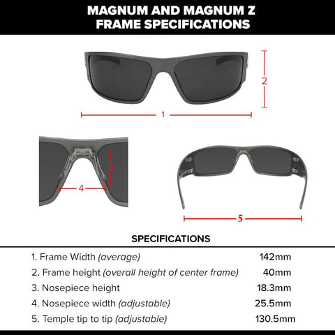 Image of Gatorz Magnum Series Sunglasses Black Frame, Smoked Blue Mirror Lens