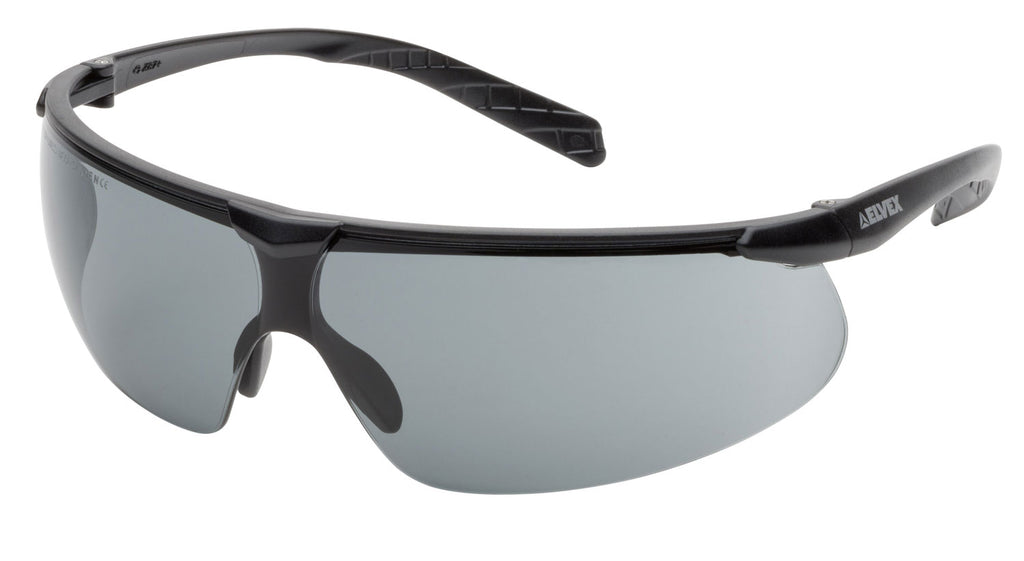 Elvex Delta Plus Helium 20 Safety/Sun Glasses Black Frame Grey Anti-Fog Lens