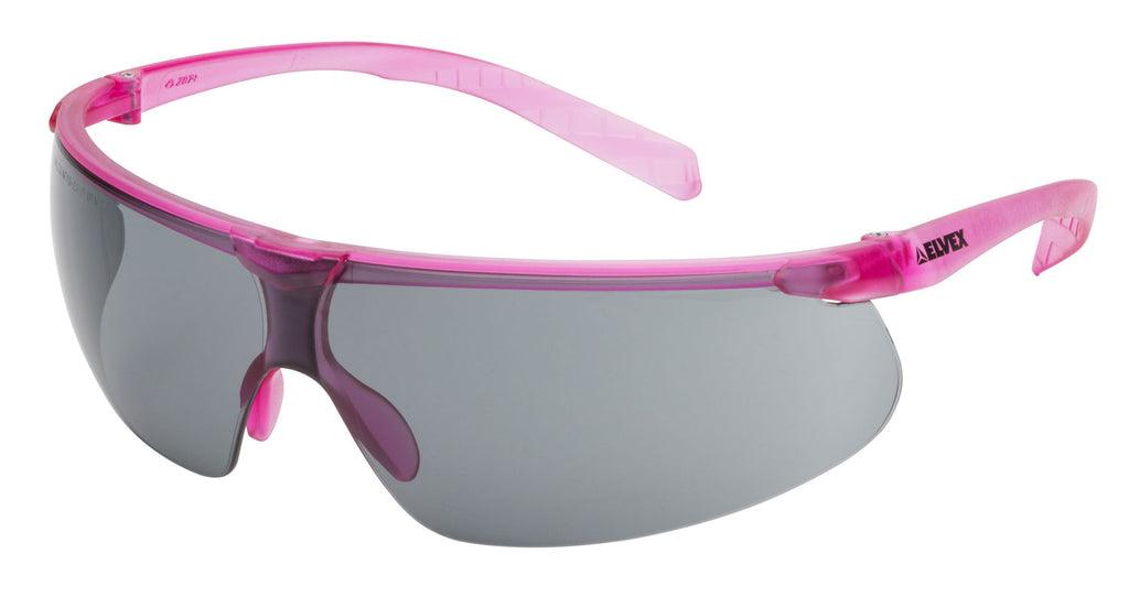 Elvex Delta Plus Helium 20 Safety/Sun Glasses Pink Frame Grey Anti-Fog Lens