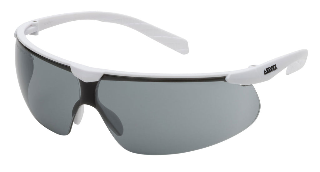 Elvex Delta Plus Helium 20 Safety/Sun Glasses White Frame Grey Anti-Fog Lens