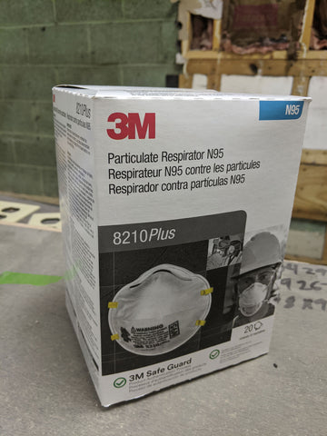 3M N95 Particulate Respirator Mask, Model 8210PLUS, 1 box, 20 masks