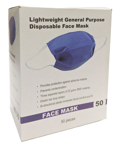 Image of Lightweight General Purpose Disposable Face Mask 1 box 50 Units