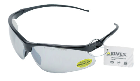 Image of Elvex Impact Series RSG500 Safety/Shooting/Sun Glasses Grey MirrorLens Ballistic Rated Z87.1