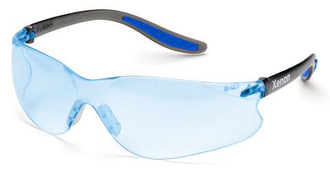 Elvex Xenon Safety Glasses Ice Blue Lens Blue/Black Frames WELSG-14B