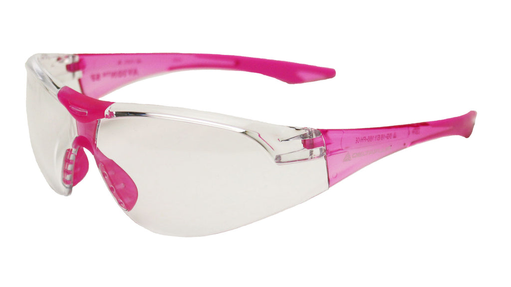Elvex Delta Plus Avion Slim Fit Girls/Women/Shooting Safety Glasses Clear Lens Pink Frame