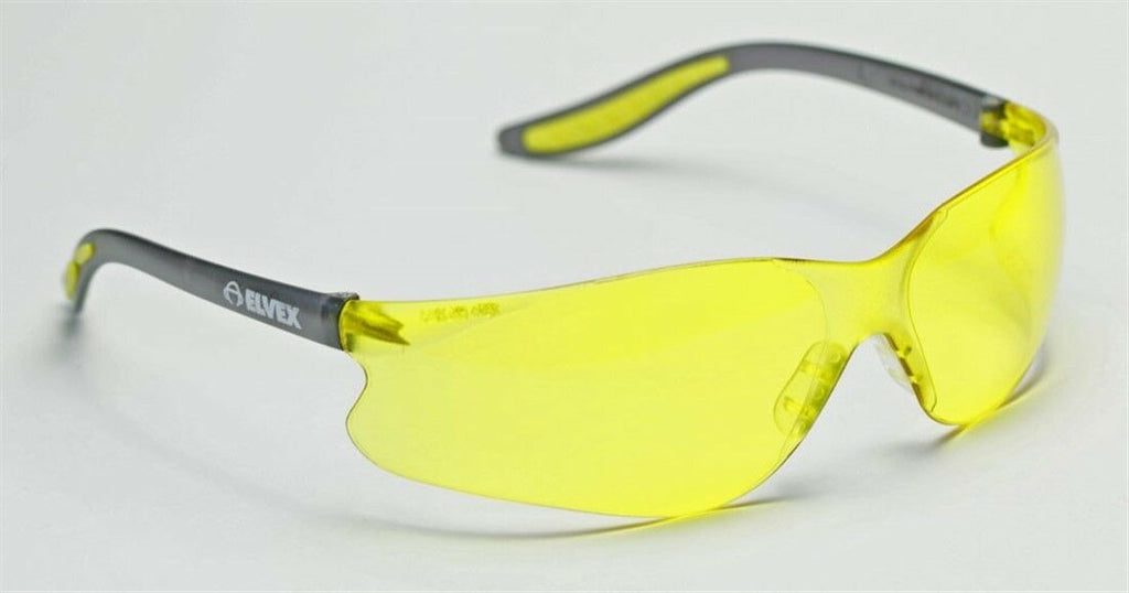 Elvex Xenon Safety/Driving Glasses Amber Lens/Black&Amber Frame WELSG-14A