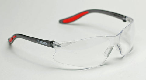 Image of Elvex Xenon™ Safety Glasses Clear Lens or Clear Anti-Fog Lens Black/Red Frame Z87.1