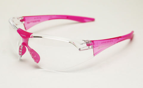 Image of Elvex Delta Plus Avion Slim Fit Girls/Women/Shooting Safety Glasses Clear Lens Pink Frame