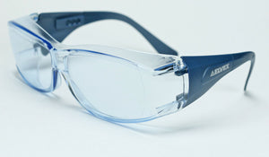 Elvex OVR Specs III Safety Glasses, Over Fit Glasses Metal Detectable/Blue Lens