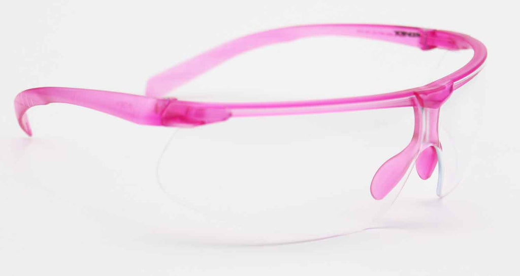 Elvex Delta Plus Helium 20 Safety Glasses Pink Frame Clear Anti-Fog Lens