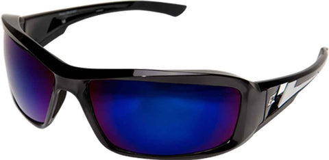 Edge Eyewear Brazeau Safety/Sun Glasses Black/Blue Mirror lens Ballistic XB118