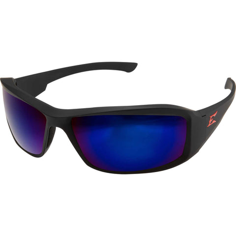 Edge Eyewear Brazeau Safety/Sun Glasses Black/Blue Mirror Lens Ballistic XB138