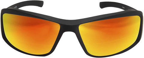 Image of Edge Eyewear Brazeau Torque Safety/Sun Glasses Matte Black Frame with Aqua Precision Red Mirror Lens XBAP139