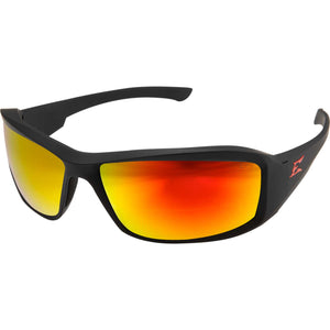 Edge Eyewear Brazeau Torque Safety/Sun Glasses Matte Black Frame with Aqua Precision Red Mirror Lens XBAP139