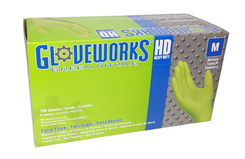 Image of Ammex Gloveworks Green Nitrile Gloves Medium 100 gloves per box