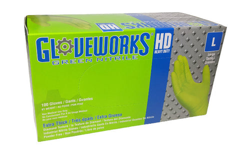 Ammex Gloveworks Green Nitrile Gloves Medium 100 gloves per box