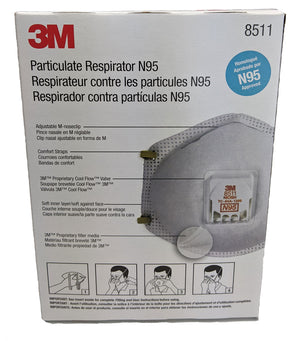 3M N95 Respirator Mask, model 8511, 1 box, 10 masks