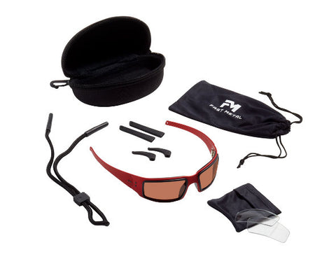 Image of Fast Metal Speed Demon Safety/Sun Glasses Kit Red Foam Polarized & Clear Lens